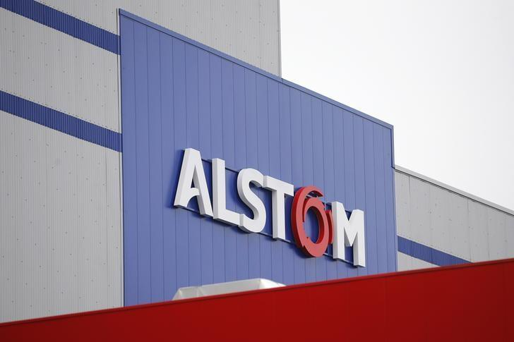 The logo of Alstom is pictured during an inaugural visit of the Alstom offshore wind turbine plants in Montoir-de-Bretagne