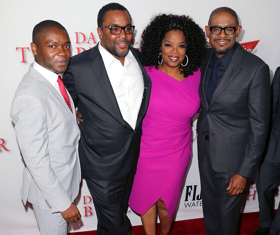 "LOS ANGELES, CA - AUGUST 12:  (L-R) Actor David Oyelowo, director Lee Daniels and actors Oprah Winfrey and Forest Whitaker attend the premiere of the Weinstein Company's ""Lee Daniels' The Butler"" at Regal Cinemas L.A. Live on August 12, 2013 in Los Angeles, California.  (Photo by David Livingston/Getty Images)"