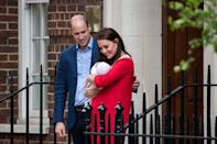 """<p>Will and Kate smile at <a href=""""https://www.townandcountrymag.com/society/tradition/g22352481/prince-louis-photos-news/"""" rel=""""nofollow noopener"""" target=""""_blank"""" data-ylk=""""slk:their new baby, Prince Louis"""" class=""""link rapid-noclick-resp"""">their new baby, Prince Louis</a>, as they leave <a href=""""https://www.townandcountrymag.com/society/tradition/a23798094/lindo-wing-st-marys-hospital-facts-photos/"""" rel=""""nofollow noopener"""" target=""""_blank"""" data-ylk=""""slk:the Lindo Wing"""" class=""""link rapid-noclick-resp"""">the Lindo Wing</a>. <br></p>"""