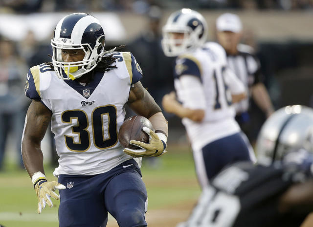 "<a class=""link rapid-noclick-resp"" href=""/nfl/players/28398/"" data-ylk=""slk:Todd Gurley"">Todd Gurley</a> is ready to blow up in Week 1. (AP Photo/Rich Pedroncelli)"