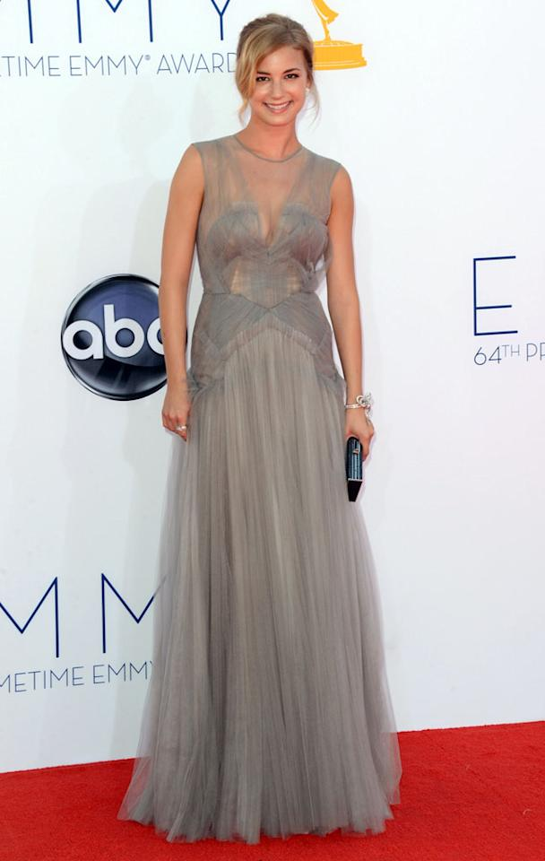 Emily VanCamp arrives at the 64th Primetime Emmy Awards at the Nokia Theatre in Los Angeles on September 23, 2012.