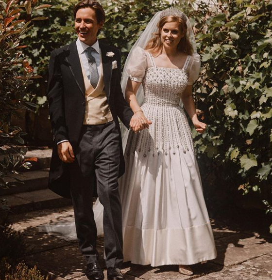 Princess Beatrice wed Edoardo Mapelli Mozzi wearing the Queen's vintage dress and tiara. Photo: Instagram/Benjamin Wheeler.