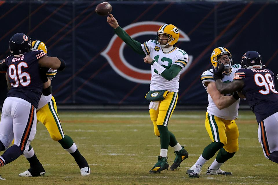 Aaron Rodgers had a perfect first half against the Bears. (Photo by Jonathan Daniel/Getty Images)