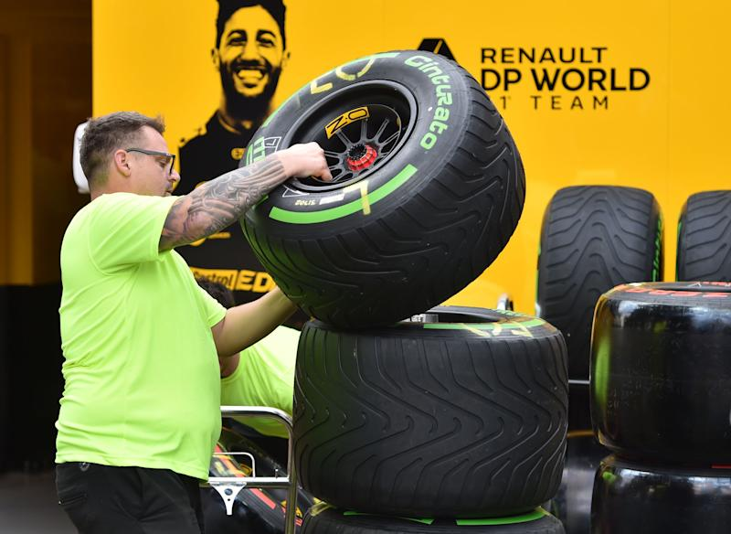 Tyres are loaded up outside the Renault garage as the Formula One Australian Grand Prix is cancelled in Melbourne on March 13, 2020. - The season-opening Australian Grand Prix was cancelled on March 13 just hours before the action was due to start over fears about the spread of coronavirus after a McLaren team member tested positive. (Photo by Peter PARKS / AFP) / -- IMAGE RESTRICTED TO EDITORIAL USE - STRICTLY NO COMMERCIAL USE -- (Photo by PETER PARKS/AFP via Getty Images)