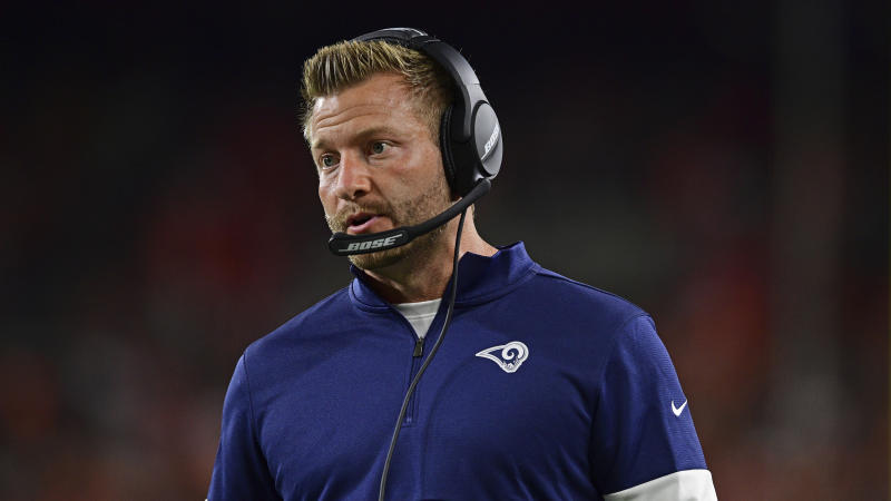Los Angeles Rams head coach Sean McVay talks during the second half of an NFL football game against the Cleveland Browns, Sunday, Sept. 22, 2019, in Cleveland. The Rams won 20-13. (AP Photo/David Dermer)