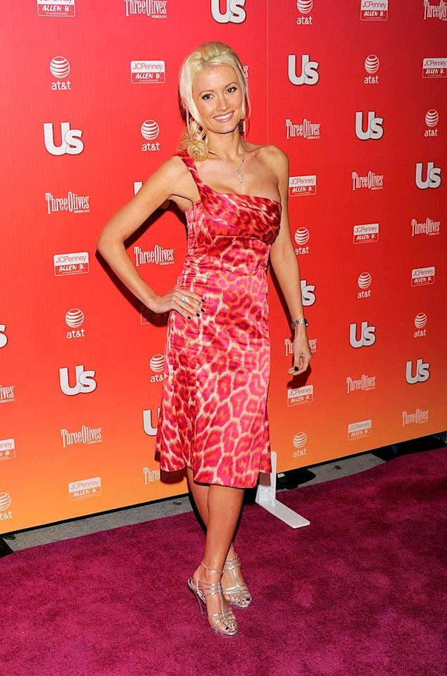 """A newly single Holly Madison was red hot in her leopard-print one-shoulder frock. Todd Williamson/<a href=""""http://www.wireimage.com"""" target=""""new"""">WireImage.com</a> - April 22, 2009"""
