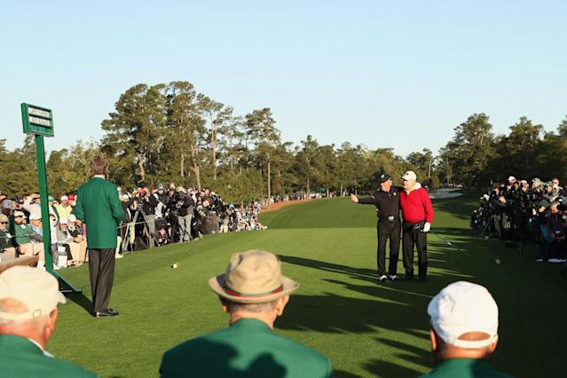 Gary Player and Jack Nicklaus prepare to open the Masters. (Getty)