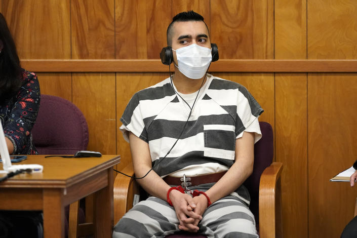 Cristhian Bahena Rivera listens to proceedings during his sentencing, Monday, Aug. 30, 2021, at the Poweshiek County Courthouse in Montezuma, Iowa. Rivera was sentenced to life in prison for the stabbing death of college student Mollie Tibbetts, who was abducted as she was out for a run near her small eastern Iowa hometown in July of 2018. (AP Photo/Charlie Neibergall, pool)