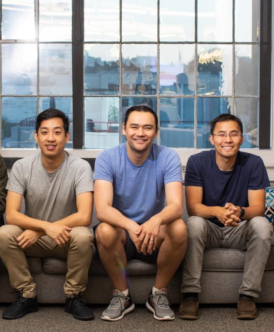 Left to right: CaptivateIQ co-founders Hubert Wong, Mark Schopmeyer and Conway Teng