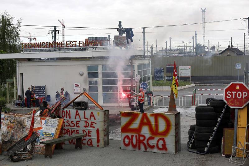 French train workers occupy building, protesting reforms
