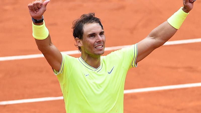 Rafa Nadal celebrates victory. (Photo by Stephane Cardinale - Corbis/Corbis via Getty Images)