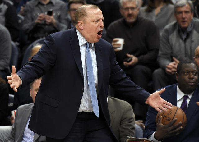 Minnesota Timberwolves coach Tom Thibodeau reacts to what he's seeing on the court. You're not going to believe it, but he's not a fan. (AP)
