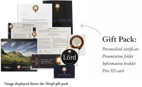 What you get in the Highland Title package. Source: Highland Titles