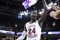 South Carolina forward Keyshawn Bryant (24) reacts to a score and foul call during the second half the team's NCAA college basketball game against Kentucky on Wednesday, Jan. 15, 2020, in Columbia, S.C. South Carolina won 81-78. (AP Photo/Sean Rayford)