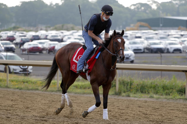 Tap It to Win works out at Belmont Park in Elmont, N.Y., Friday, June 19, 2020. The Belmont Stakes is scheduled to run on Saturday. (AP Photo/Seth Wenig)