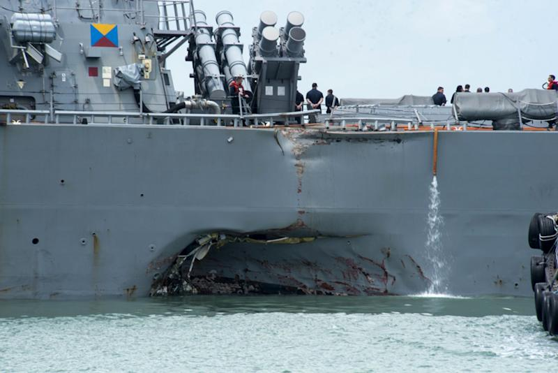 Nations search for 10 missing after US destroyer collision