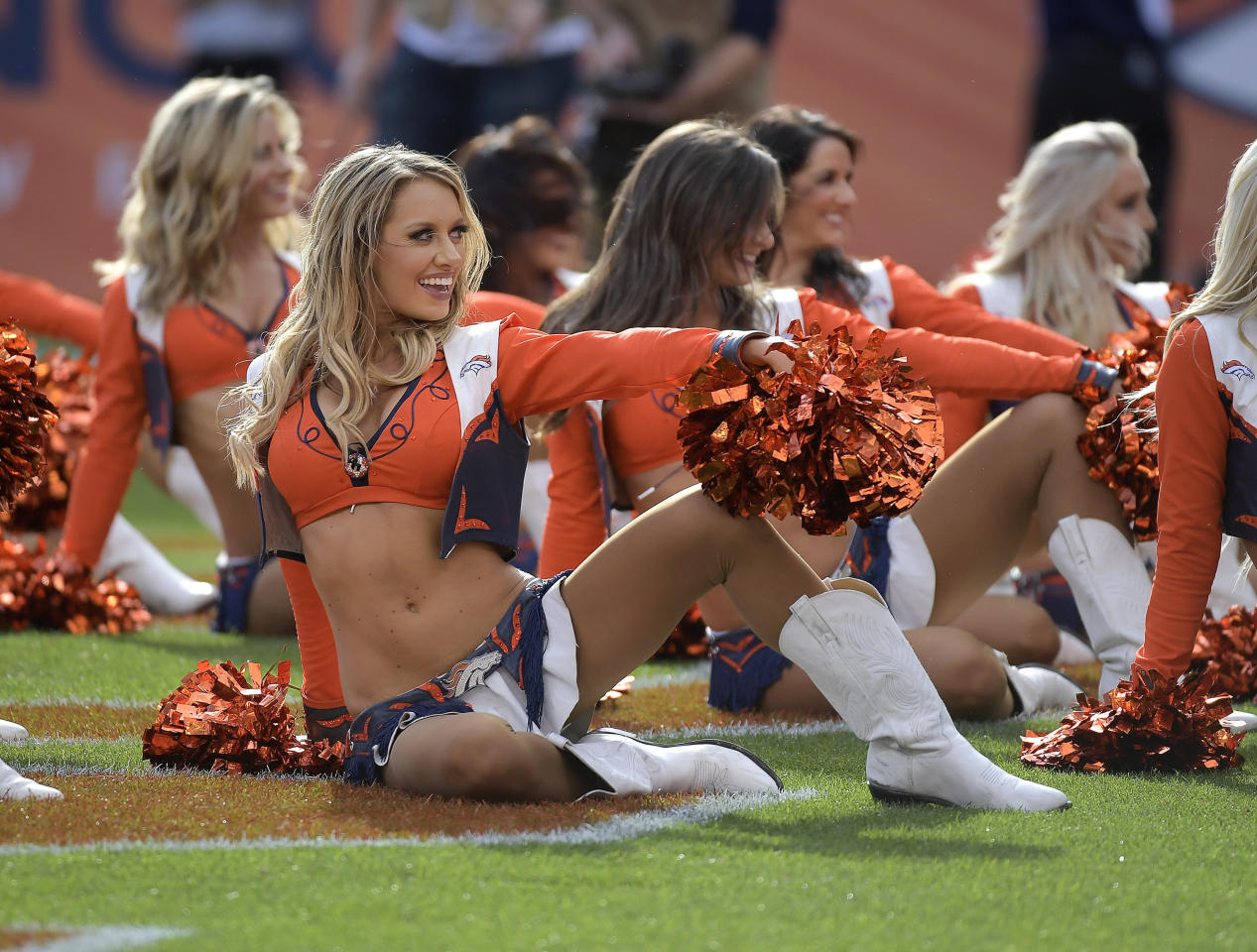 <p>Denver Broncos cheerleaders entertain during the second quarter as the Broncos beat the Dallas Cowboys 42-17 on Sunday, Sept. 17, 2017 at Sports Authority Field at Mile High in Denver, Colo. (Max Faulkner/Fort Worth Star-Telegram/TNS via Getty Images) </p>