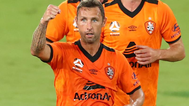 Scott McDonald, pictured here celebrating a goal against Newcastle Jets in the A-League.