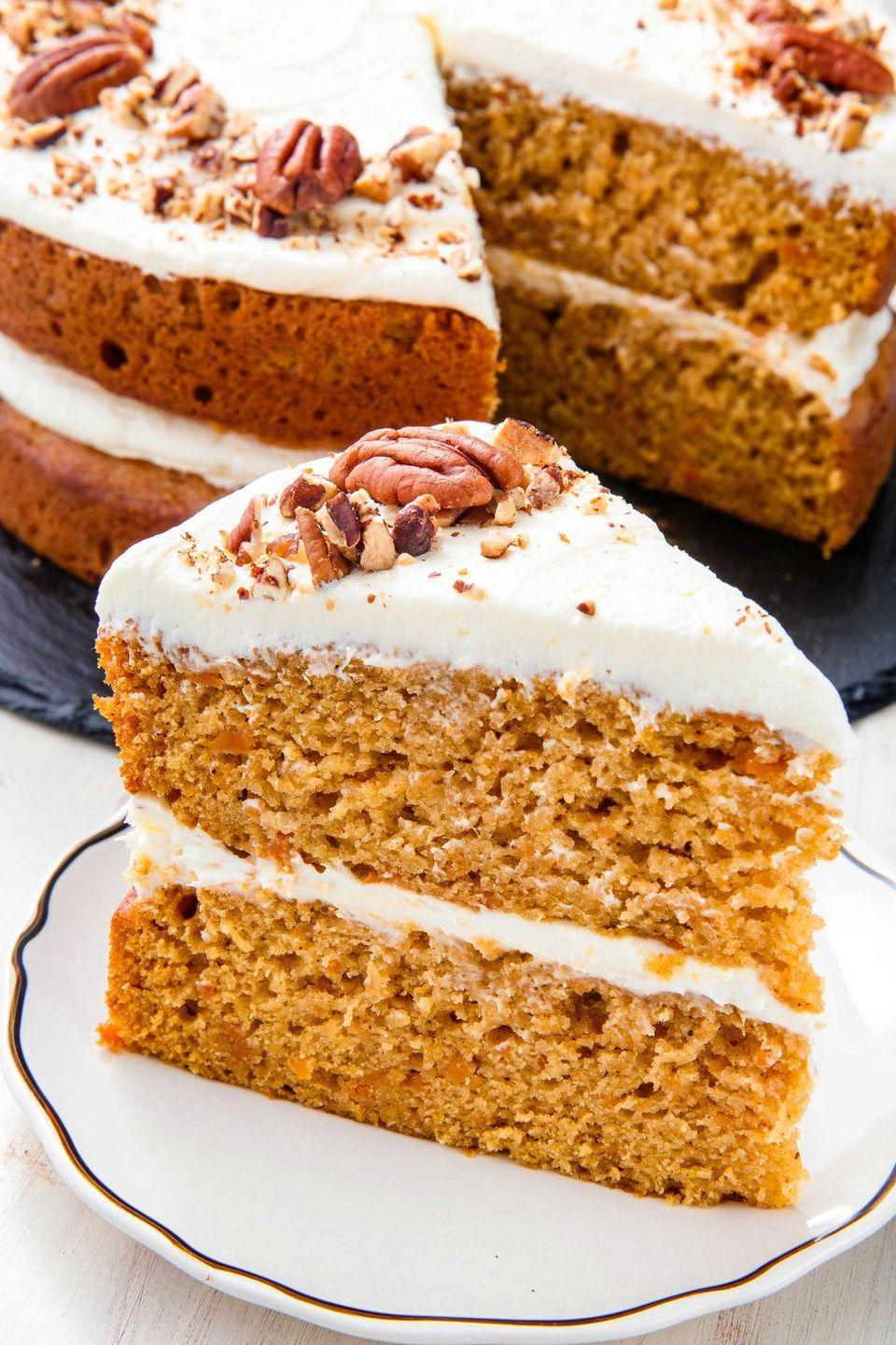 """<p>Marshmallow fluff frosting? Yes please.</p><p>Get the recipe from <a href=""""https://www.delish.com/holiday-recipes/thanksgiving/a23011942/best-sweet-potato-cake-recipe/"""" rel=""""nofollow noopener"""" target=""""_blank"""" data-ylk=""""slk:Delish"""" class=""""link rapid-noclick-resp"""">Delish</a>.</p>"""