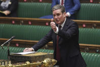 In this photo provided by UK Parliament, Britain's Labour Party leader Keir Starmer speaks during the debate in the House of Commons on the EU (Future Relationship) Bill in London, Wednesday, Dec. 30, 2020. The European Union's top officials have formally signed the post-Brexit trade deal with the United Kingdom, as lawmakers in London get set to vote on the agreement. (Jessica Taylor/UK Parliament via AP)