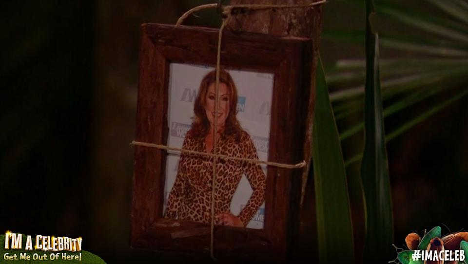 Jane McDonald's picture is hanging in the camp (Credit: ITV)