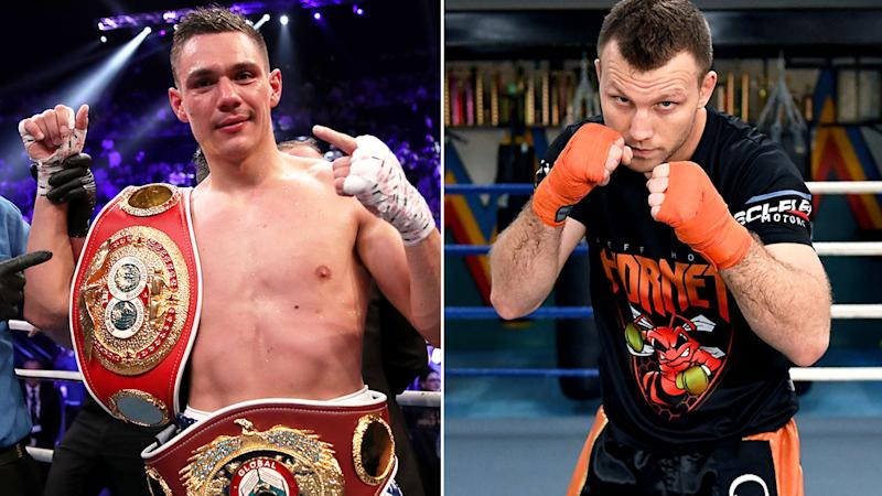 Pictured here, unbeaten Aussie champ Tim Tszyu and former champion Jeff Horn.