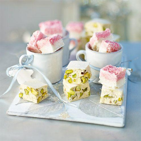 """<p>If you prefer, substitute chopped blanched almonds or hazelnuts for the pistachios. You will need a sugar thermometer to complete this recipe.</p><p><strong>Recipe: <a href=""""https://www.goodhousekeeping.com/uk/food/recipes/a537078/pistachio-and-honey-nougat/"""" rel=""""nofollow noopener"""" target=""""_blank"""" data-ylk=""""slk:Pistachio and honey nougat"""" class=""""link rapid-noclick-resp"""">Pistachio and honey nougat</a></strong><br><br><br><br></p>"""