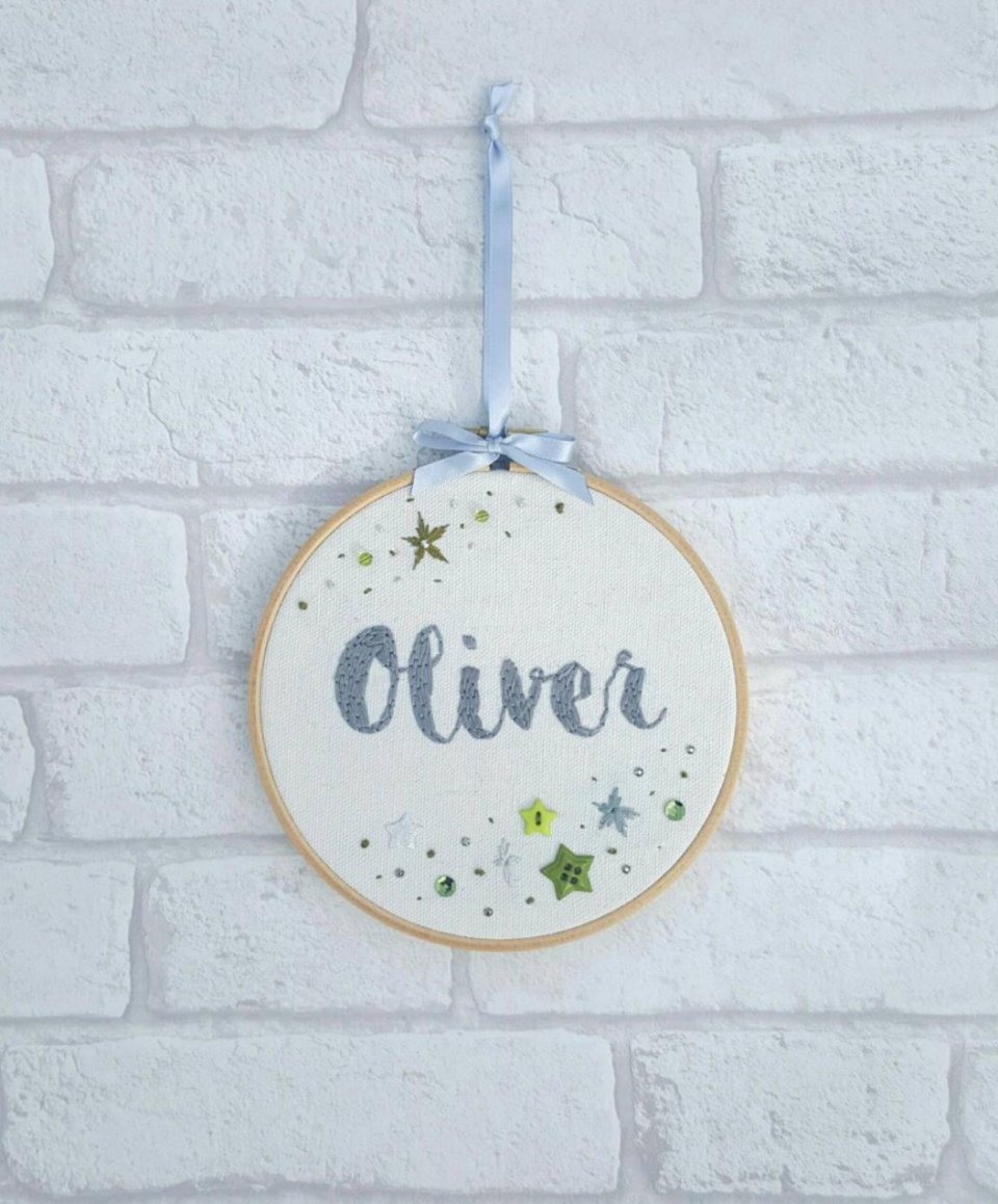 Personalized Hoop Art (Photo via Etsy)