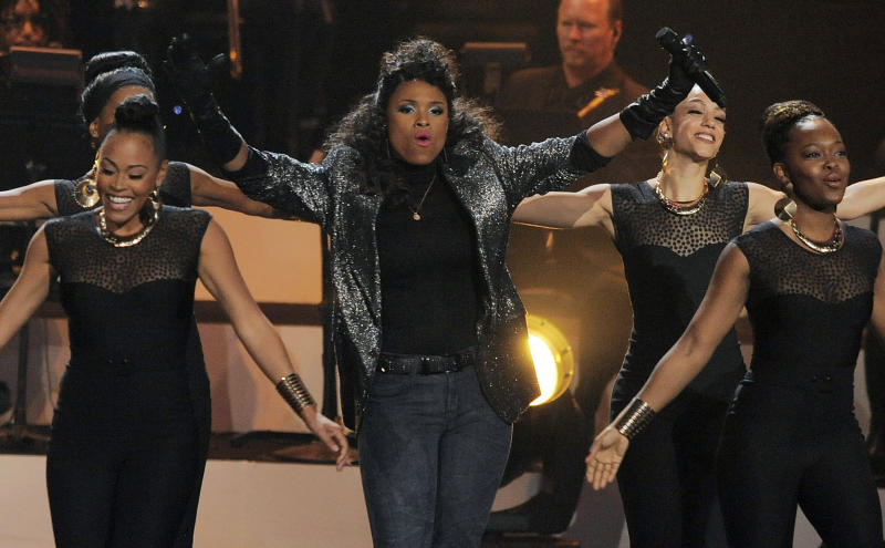 """Singer Jennifer Hudson performs onstage at """"We Will Always Love You: A Grammy Salute to Whitney Houston,"""" at Nokia Theatre on Thursday, Oct. 11, 2012, in Los Angeles. The one-hour concert tribute will air on CBS on Nov. 16. (Photo by Chris Pizzello/Invision/AP)"""