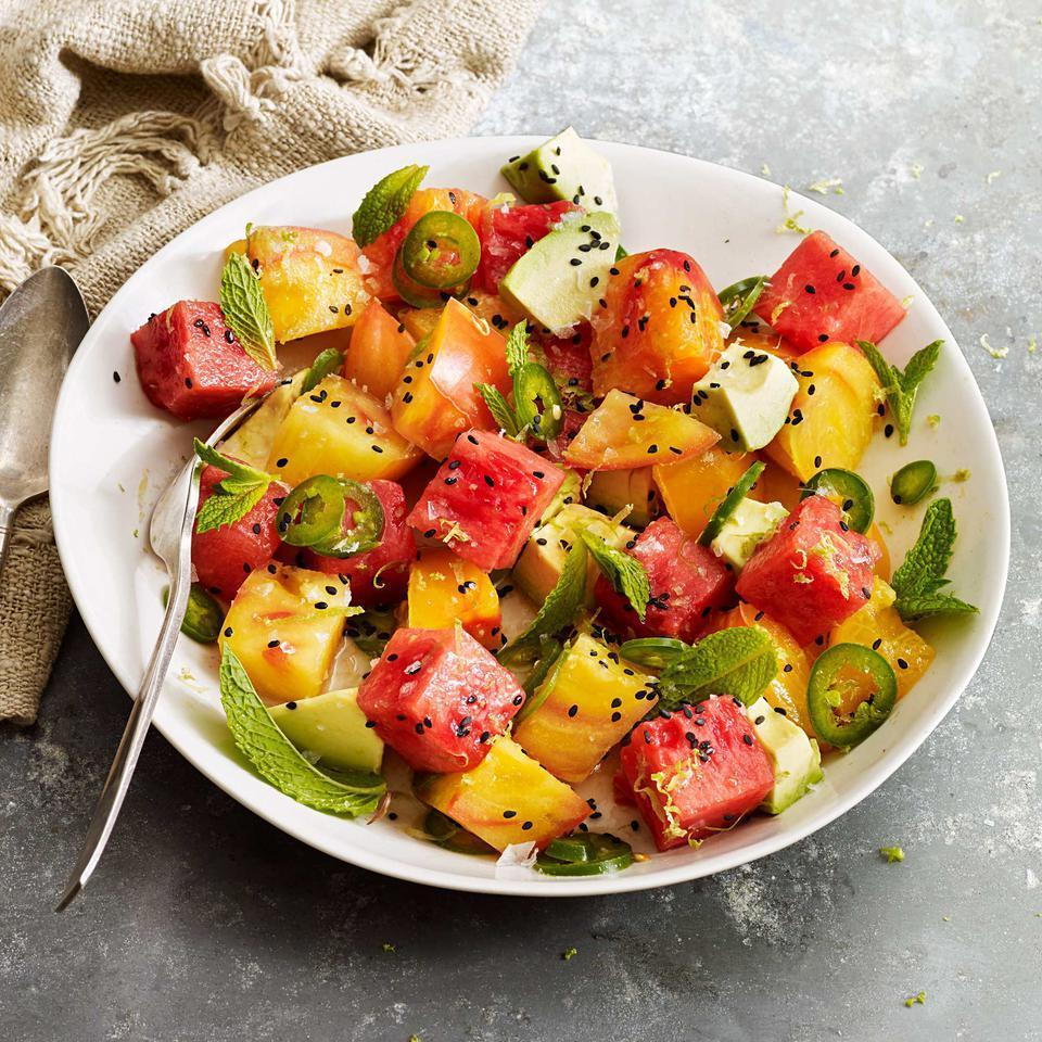 <p>Enjoy this refreshing healthy salad recipe as a side dish or dice the tomatoes, watermelon and avocado smaller (1/2- to 1/4-inch pieces) and serve as a condiment for grilled fish, shrimp or chicken.</p>