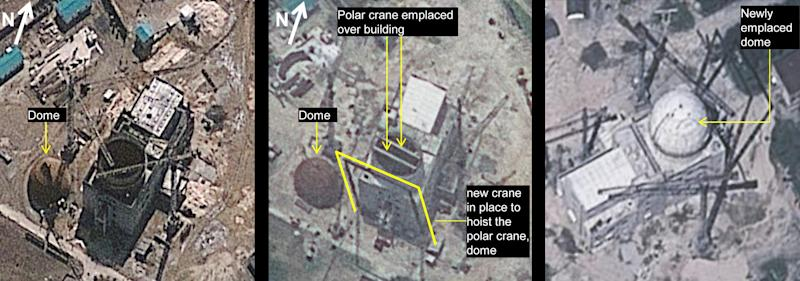 FILE - The combination of these three file satellite images taken, from left, March 20, June 24 and Aug. 6, 2012, by GeoEye-1 satellite, and released by IHS Jane's Defence Weekly, shows development of a building construction at Yongbyon Nuclear Scientific Research Center in North Korea. Analyst Allison Puccioni at IHS Jane's Defence Weekly said in a statement on Aug. 21, 2012 the image taken by the satellite Aug. 6 showed a dome had been hoisted atop the reactor building. She says it may take several more years for the facility to be brought into full operation. The Aug. 6 photo was taken from the almost opposite direction compared to the two others. North Korean scientists have mastered domestic production of essential components for the gas centrifuges needed to build uranium-based nuclear bombs, apparently shutting down one of the few ways outsiders could monitor secretive atomic work, according to evidence gathered by two American experts, The Associated Press reports Monday, Sept. 23, 2013. (AP Photo/GeoEye and IHS Jane's Defence Weekly, File)