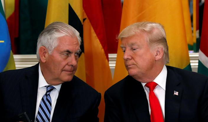 Secretary of State Rex Tillerson and President Trump confer during a Sept 20 U.N. lunch. (Reuters/Kevin Lamarque/File Photo)