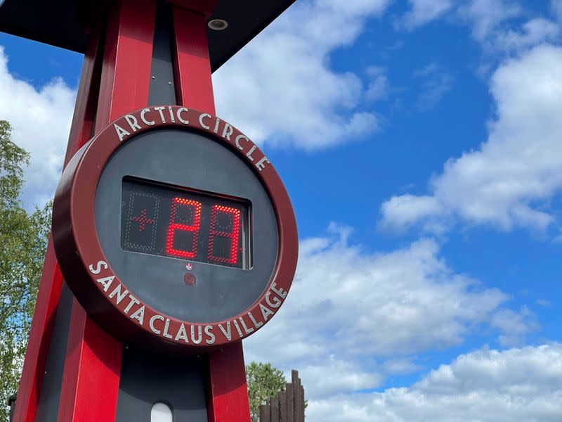 A thermometer is pictured at the main square of the Santa Claus Village in the Arctic Circle near Rovaniemi