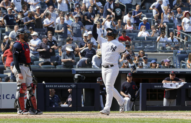Gleyber Torres #25 of the New York Yankees celebrates his sixth inning home run against the Cleveland Indians at Yankee Stadium on August 17, 2019 in New York City. (Photo by Jim McIsaac/Getty Images)