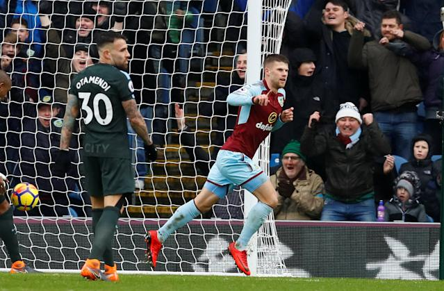 "Soccer Football - Premier League - Burnley vs Manchester City - Turf Moor, Burnley, Britain - February 3, 2018 Burnley's Johann Berg Gudmundsson celebrates scoring their first goal Action Images via Reuters/Jason Cairnduff EDITORIAL USE ONLY. No use with unauthorized audio, video, data, fixture lists, club/league logos or ""live"" services. Online in-match use limited to 75 images, no video emulation. No use in betting, games or single club/league/player publications. Please contact your account representative for further details."
