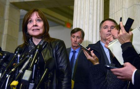 General Motors (GM) Chairman and CEO Mary T. Barra makes remarks to the press after a meeting on Capitol Hill with Ohio's Senators Rob Portman and Sherrod Brown to discuss GM's recent announcement to close four U.S. plants and lay off some 15,000 employees, Washington, U.S., December 5, 2018.  REUTERS/Mike Theiler