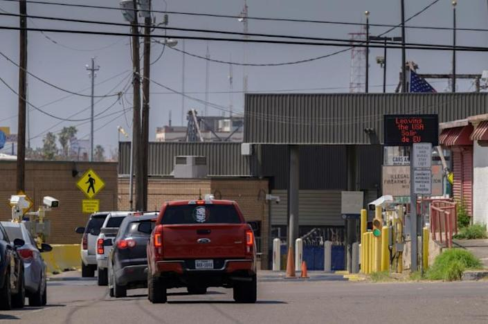 A photo taken on March 27, 2021 shows the entrance to a border crossing in the southern Texas border city of Roma