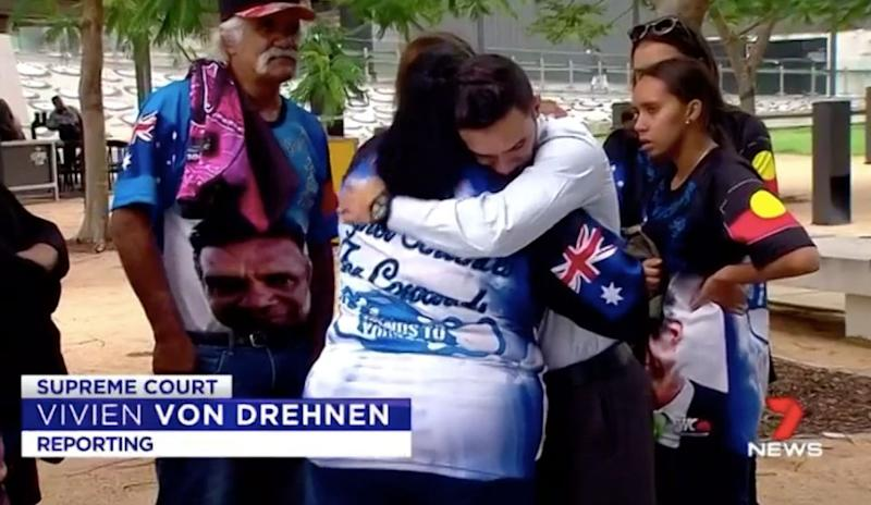 Trevor Duroux's family wore T-shirts with his face and the words: 'Keep your hands to yourself.' Source: 7 News