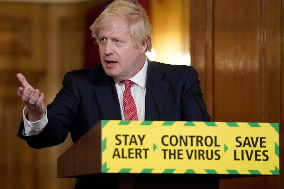<p>Boris Johnson speaks during a Downing Street press briefing</p> (10 Downing Street/AFP via Getty)