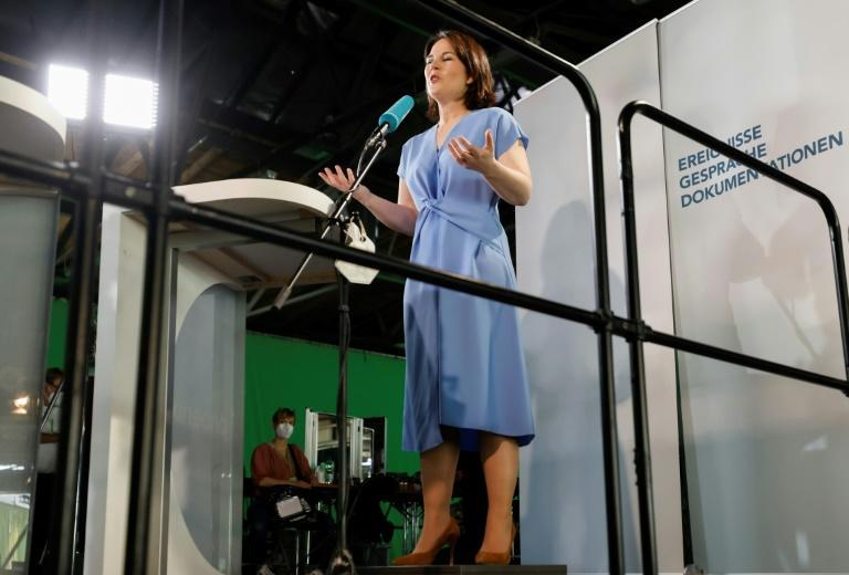 German Green candidate Annalena Baerbock, seen speaking in June 2021, supports a tougher approach on China