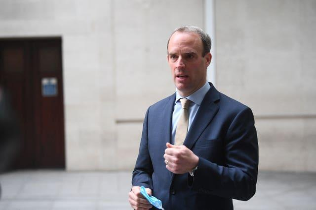 Foreign Secretary Dominic Raab (VIctoria Jones/PA)