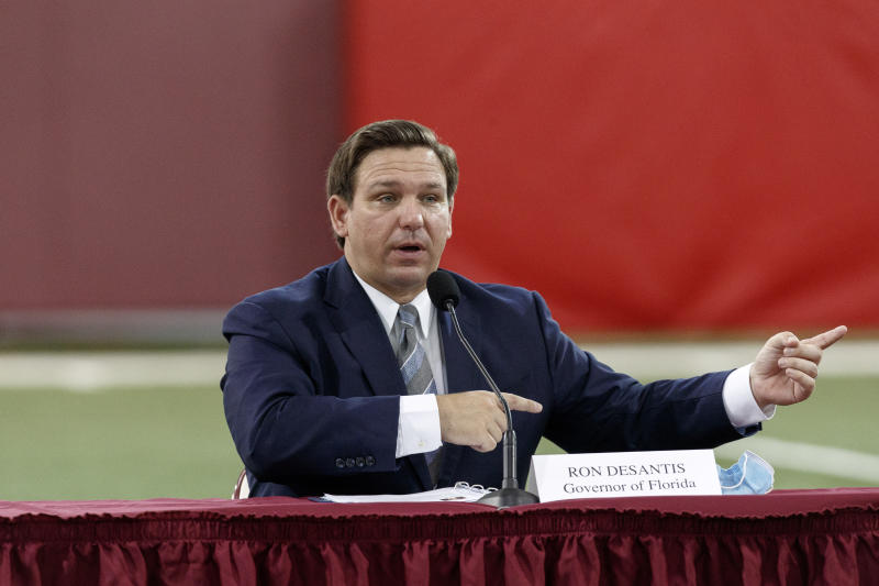 Florida Governor Ron DeSantis speaks during a collegiate athletics roundtable about fall sports at the Albert J. Dunlap Athletic Training Facility on the campus of Florida State University on August 11, 2020 in Tallahassee, Florida. (Don Juan Moore/Getty Images)