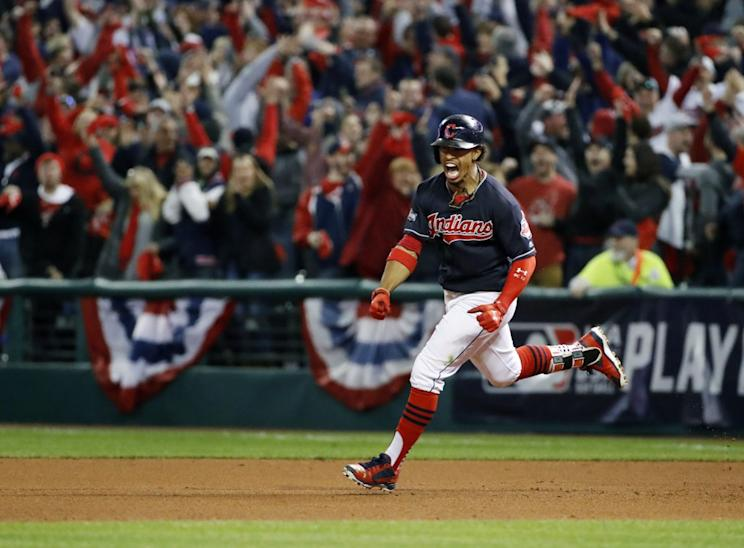 Francisco Lindor celebrates his Game 1 homer. (AP)