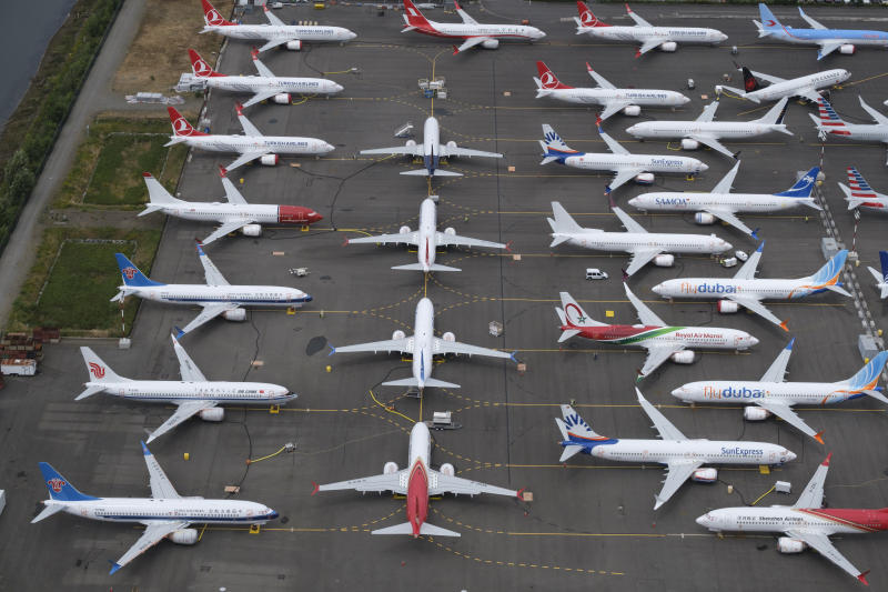 Boeing 737 MAX airplanes are stored in an area adjacent to Boeing Field, on June 27, 2019 in Seattle, Washington. After a pair of crashes, the 737 MAX has been grounded by the FAA and other aviation agencies since March, 13, 2019. Photo: Stephen Brashear/Getty