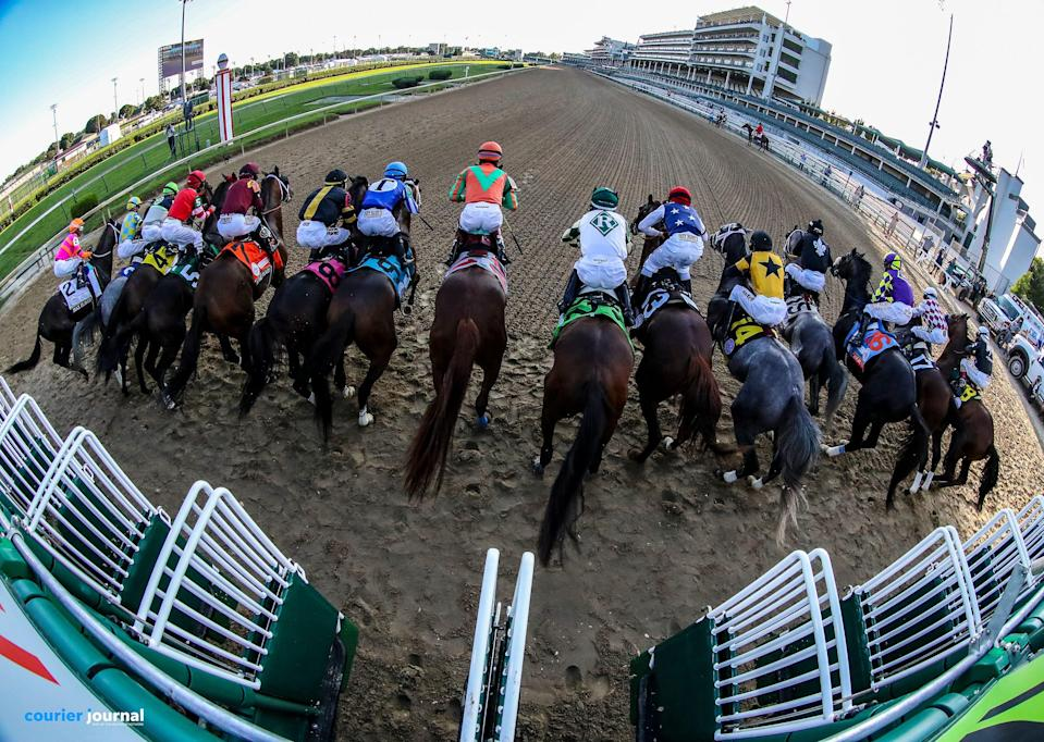 Horses break from the starting gate for the 146 running of The Kentucky Derby on September 5, 2020.  The race was delayed from the original day on the first Saturday in May due to the Coronavirus.