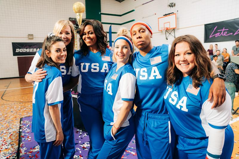 LOS ANGELES - MAY 1: Former First Lady Michelle Obama Leads Team USA against James Corden's Team UK in an epic USA vs UK Dodgeball Game, featuring Melissa McCarthy, Benedict Cumberbatch, Harry Styles, Kate Hudson, Allison Janney, Mila Kunis, Lena Waithe and John Bradley, on The Late Late Show with James Corden in London, airing Monday, June 17, 2019 (12:37 -- 1:37 am, ET/PT) on the CBS Television Network. (Photo by Terence Patrick/CBS via Getty Images)