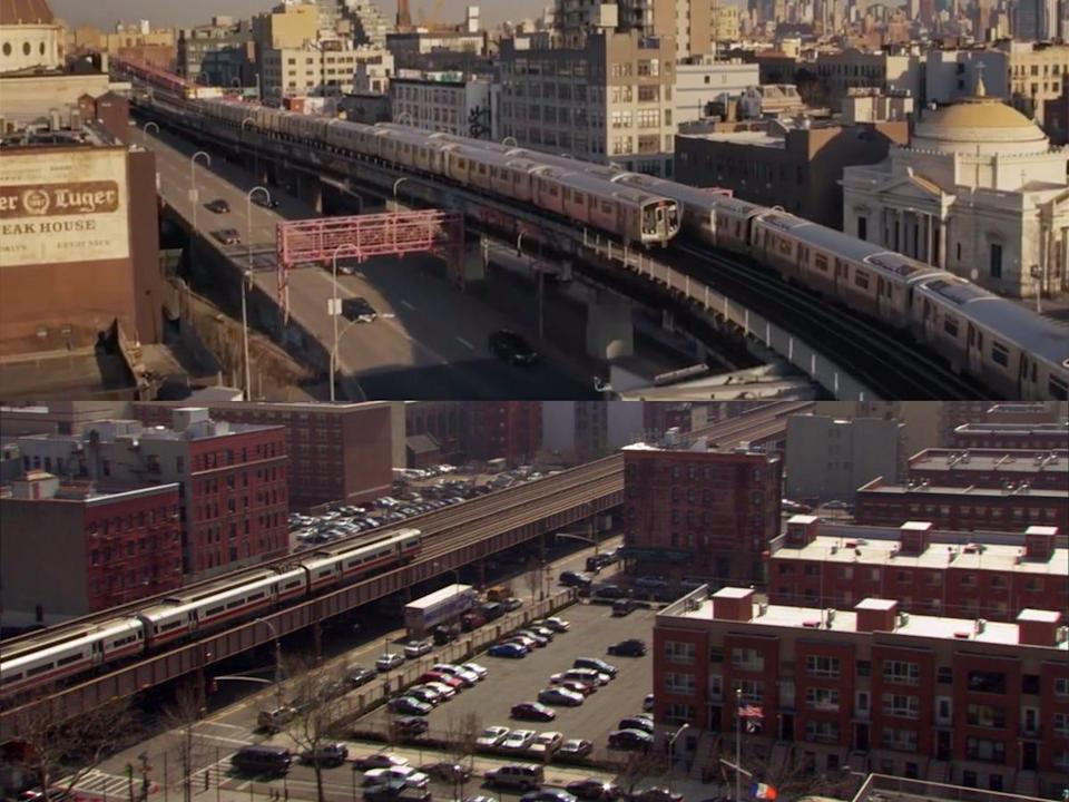 """Trains passing through New York City on the original """"Gossip Girl"""" series and the continuation show."""