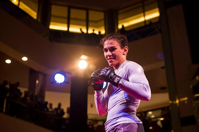 Jessica Andrade holds an open training session at Barra Shopping Mall on May 8, 2019 in Rio de Janeiro, Brazil. (Getty Images)
