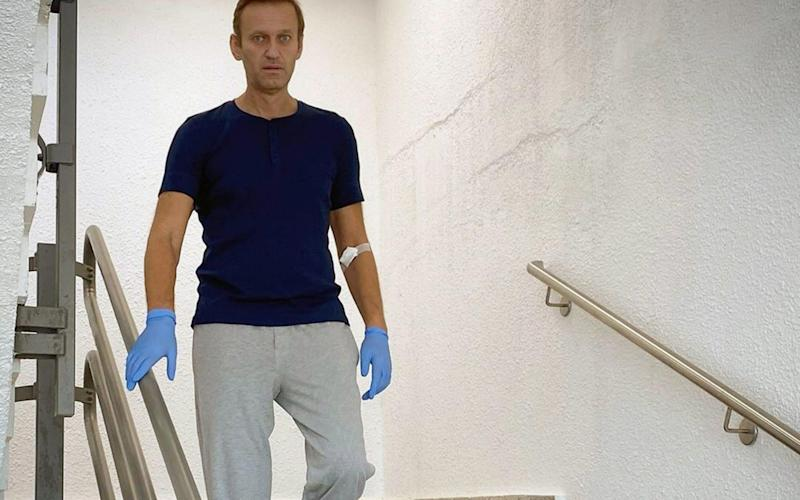 """Alexei Navalny said on Saturday that he can now walk with a """"tremble"""" - Handout/AFP"""