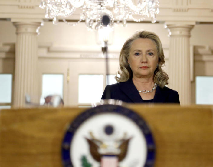 <p>Secretary of State Hillary Clinton arrives to speak at the State Department in Washington, on Sept. 12, 2012, on the recent deaths of Americans in Libya. (Photo: Alex Brandon/AP)</p>